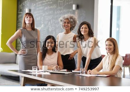 Trois affaires femmes réunion portable conférence Photo stock © photography33
