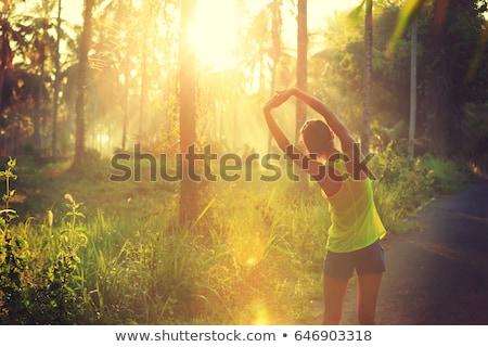 Egzersiz doğa solunum kadın orman Stok fotoğraf © silent47