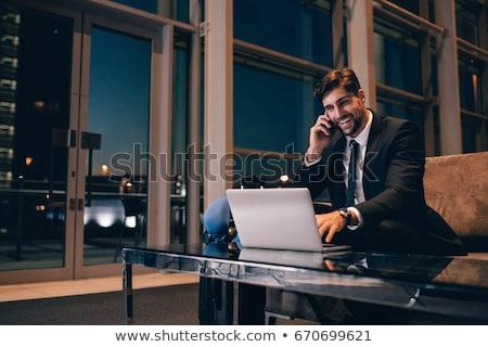 iş · adamı · bekleme · ofis · lobi · Internet · adam - stok fotoğraf © ambro