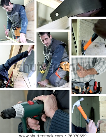 Stockfoto: Mosaic Of Carpenter Working