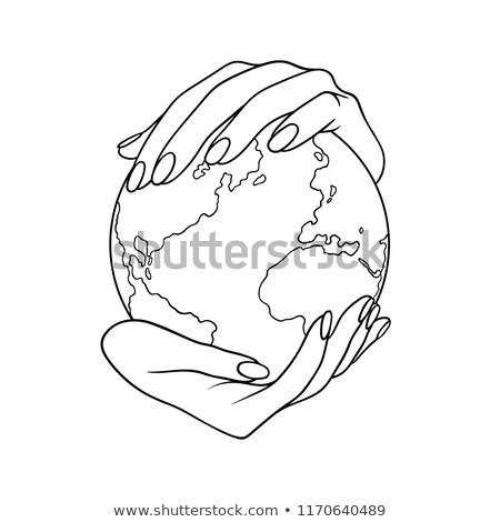 Mains comme sphère signe blanche Photo stock © kbuntu