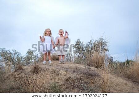 Meisje focus zicht jonge mooie vrouw grijs Stockfoto © Aikon