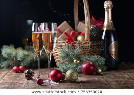 pezsgő · szemüveg · karácsony · ajándék · ajándékok · izolált - stock fotó © karandaev
