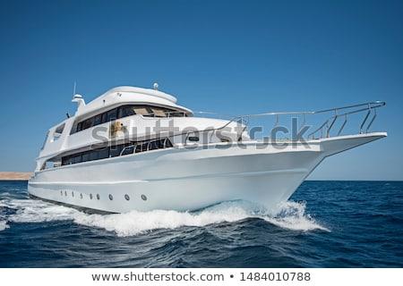 white yacht in blue sea under blue sky  background foto stock © cherju