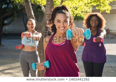 ストックフォト: 太り過ぎ · 女性 · 行使 · トレーナー · 女性 · 健康