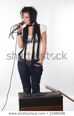 rock · star · sexy · kobieta · śpiewu · karaoke · kobieta · strony - zdjęcia stock © kurhan