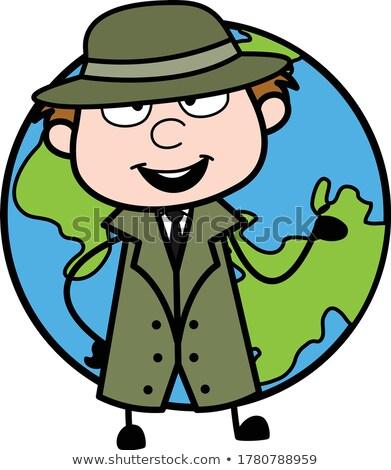 Homme espionnage terre souriant mains planète Photo stock © Toivo