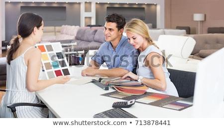 Jonge vrouw winkelen meubels store computer Stockfoto © lightpoet