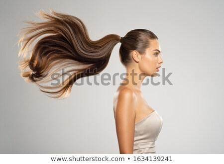 брюнетка Flying волос женщины моде глазах Сток-фото © oneinamillion