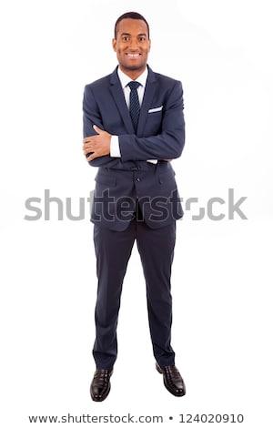 молодые · бизнесмен · рук · сложенный · белый · лице - Сток-фото © wavebreak_media