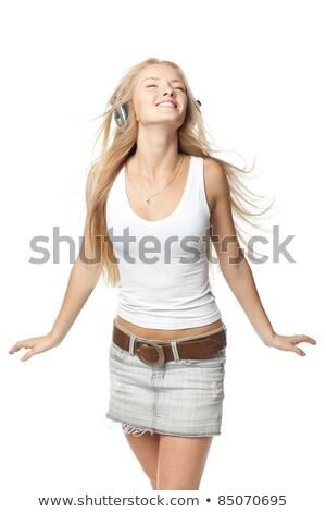 Blijde blonde vrouw minirok mooie glimlach poseren Stockfoto © dash