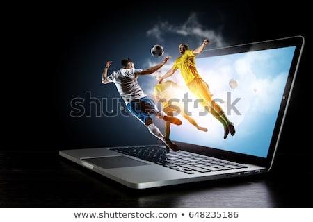 Laptop futebol fora tela computador grama Foto stock © almir1968