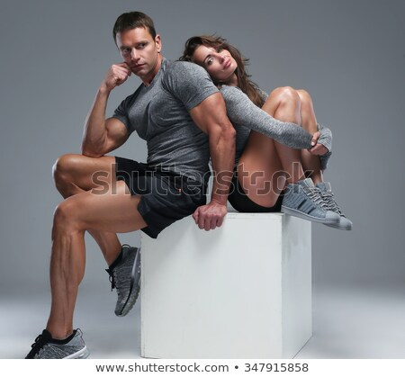 Beautiful athletic couple over white Stock photo © photobac