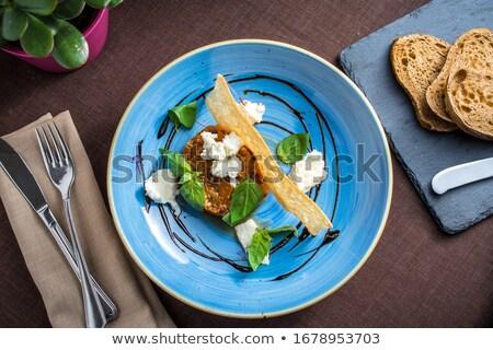 Taze domates mozzarella cam plaka siyah Stok fotoğraf © doupix