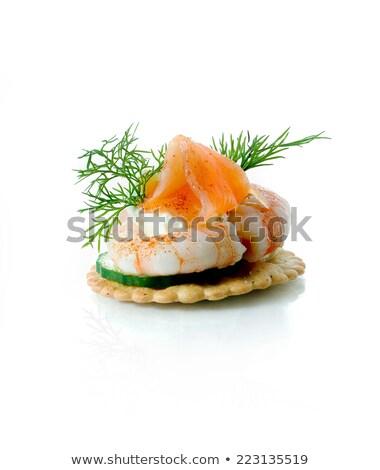 Pastries with salmon, caviar and shrimp Stock photo © Zerbor