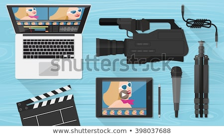 Photo stock: Laptop With Video Camera On Tripod