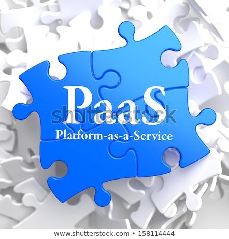 Quebra-cabeça tecnologia da informação escrito azul peças do puzzle 3d render Foto stock © tashatuvango