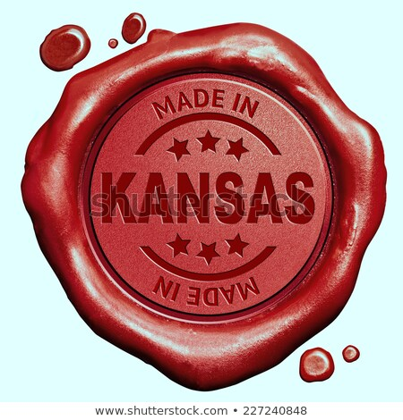 Kansas tampon rouge cire sceau isolé Photo stock © tashatuvango