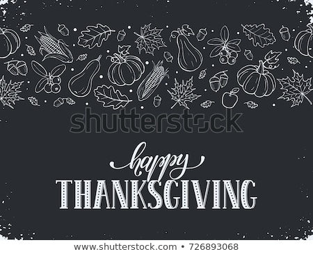 happy thanksgiving day on blackboard banner stock photo © marinini