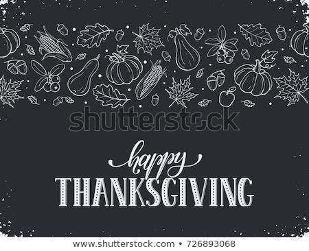 Foto d'archivio: Happy Thanksgiving Day On Blackboard Banner