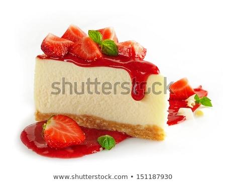 Rebanada delicioso fresa tarta de queso torta postre Foto stock © raphotos