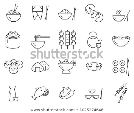 vector set of oriental japanese food icons stock photo © odes