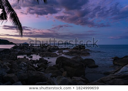Rocky island silhouette and sunset in india Stock photo © Juhku