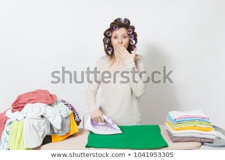 Ev kadını portre seksi saç ağız komik Stok fotoğraf © dukibu
