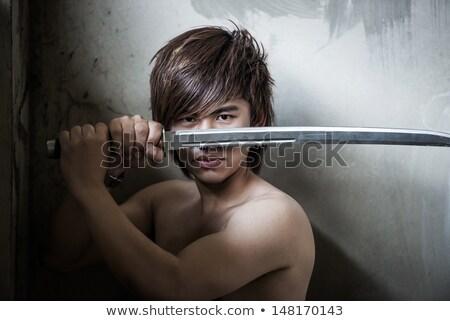 Retrato masculino ninja espada preto traje Foto stock © AndreyPopov