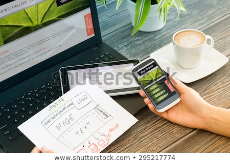 Stockfoto: Schaalbaar · sympathiek · web · design · social · media · iconen · telefoon