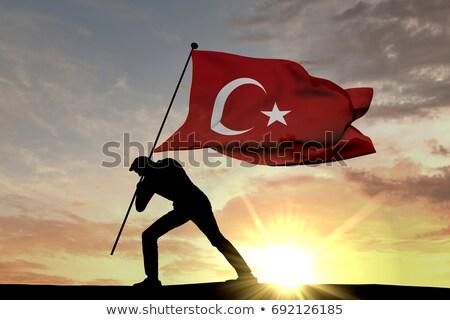トルコ語 · フラグ · 月 · 青 · 星 · ファブリック - ストックフォト © stevanovicigor