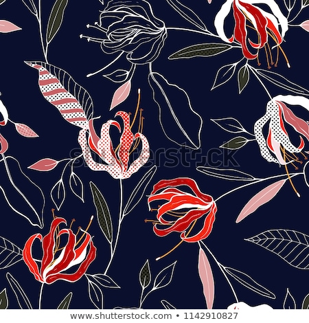 Abstract hand-drawing Seamless pattern with flowers and birds Stock photo © Elmiko