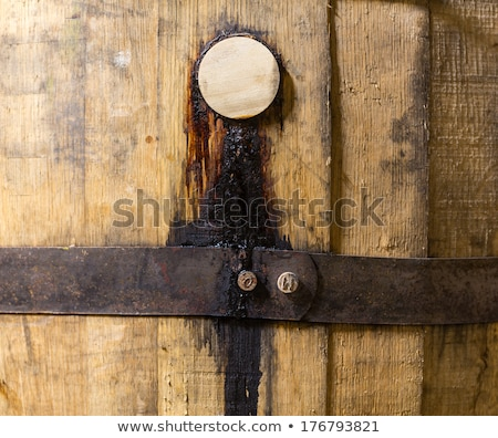 macro shot of bung in wooden bourbon barrel stock photo © backyardproductions