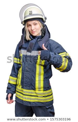 Lady пожарный вызывать знак весело Сток-фото © bmonteny