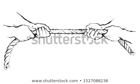 Stock photo: man tug of war pulling rope isolated