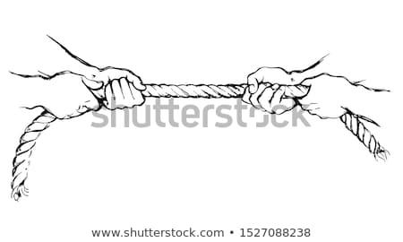man tug of war pulling rope isolated stock photo © leeavison
