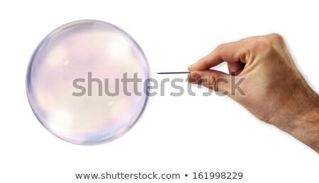 economisch · bubble · naald · straat · bank · angst - stockfoto © klublu
