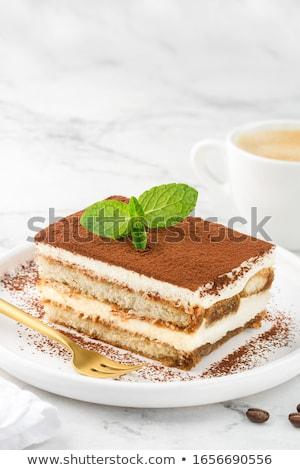 Tiramisu dessert voedsel koffie glas chocolade Stockfoto © M-studio