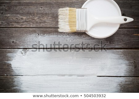 renovation brush on white with wooden texture stock photo © dariazu