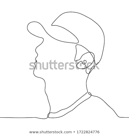 sketch cute man in profile stock photo © kali