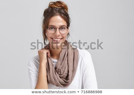 Bonitinho menina cachecol isolado branco Foto stock © aza