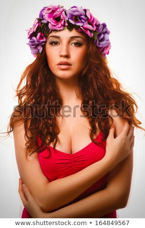 Fresh skin Girl with Spring Flowers on her head stock photo © Kor