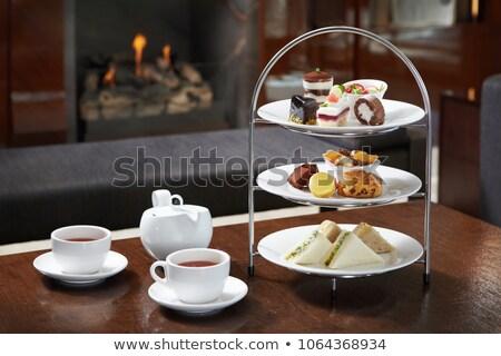茶 パーティ 暖炉 黒白 画像 少女 ストックフォト © tatiana3337