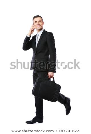 fiú · öltöny · laptop · számítógép · háttér · fiatalság - stock fotó © deandrobot