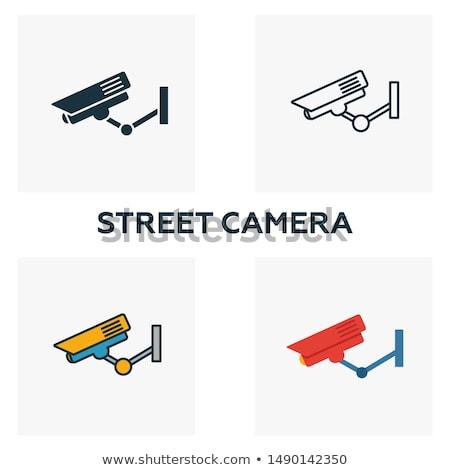 Cctv teken Blauw vector icon ontwerp Stockfoto © rizwanali3d