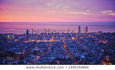 Barcelona panorama zonsopgang gebouw stad zee Stockfoto © elxeneize