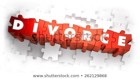 развод белый слово красный 3d визуализации семьи Сток-фото © tashatuvango