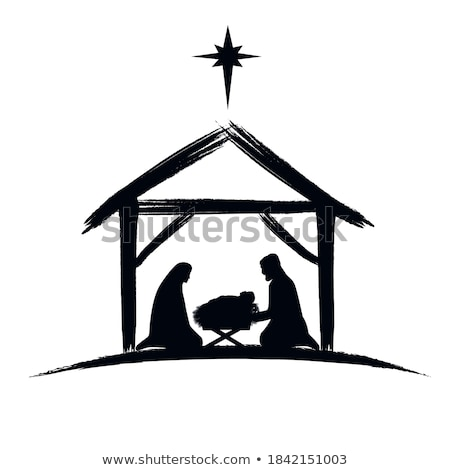 Nativity Christmas Scene Religious black and white Stock photo © Irisangel
