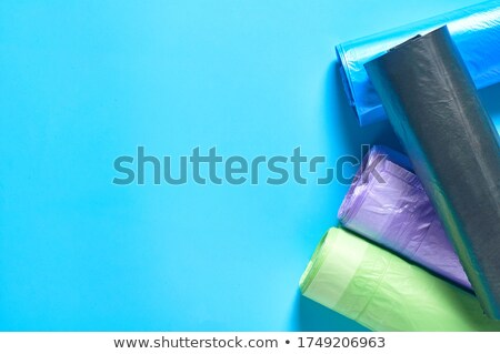 Roll of blue plastic garbage bags top view Stock photo © Cipariss