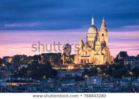 Монмартр · Париж · ночь · базилика · зеленый · Европа - Сток-фото © andreykr